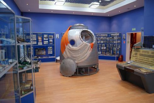 Soyuz spacecraft descent module capsule in Baikonur Museum