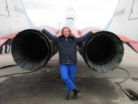 Brave woman near MiG-29