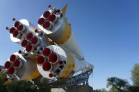 Monument of Soyuz spaceship. Baikonur