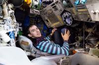 Photo inside model of  Soyuz spaceship